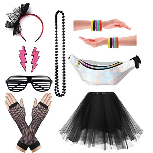 CSG Women's 80s Outfit Accessories Neon Earrings Leg Warmers Gloves Tutu Skirt (Black)]()