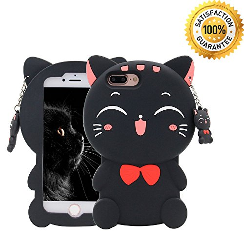 iPhone 7 Plus Case, iPhone 8 Plus Case, 3D Cartoon Silicone Lucky Fortune Cat Kids Girls Animals Soft Rubber Shockproof Protector Shell Skin for Apple iPhone 7/8 Plus 5.5 - Black Bow Tie Cat
