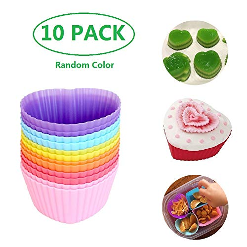 (Silicone Cupcake Baking Cups - Reusable Cupcake Liners Mini Muffin Liners Nonstick Truffle Molds, 10PCS Colorful Heart Shape)