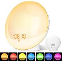 [2019 Newest Version] Alarm Clock Wake Up Light with Sunrise/Sunset Simulation Dual Alarms Snooze Function FM Radio Bedside Night Light 7 Natural Sounds 7 Color Atmosphere Lamp 20 Brightness UK Plug