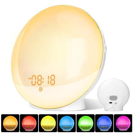 Wake Up Light, Luz Despertador LED con Dual Relojes de Alarma, Función de Ayuda para Dormir, Radio FM, Función Snooze, 8 Sonidos de Alarma, 7 colors ...