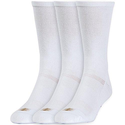 (PowerSox Men's Coolmax Crew Sock 3 Pack,White, Large(Shoe Size 9-12.5))