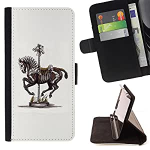 - Horse Skeleton Fair Zebra Artistic - - Monedero PU titular de la tarjeta de cr????dito de cuero cubierta de la caja de la bolsa FOR Apple Iphone 4 / 4S RetroCandy