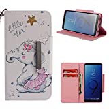 Leather Wallet Case for Samsung Galaxy S9,Shinyzone Cute Cartoon Animal Elephant Painted Pattern Flip Stand Case,Wristlet & Metal Magnetic Closure Protective Cover