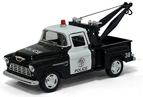 (5 Inch 1955 Chevy Stepside Pick-Up Tow Truck (Police) 1:32 Scale by Kinsmart)
