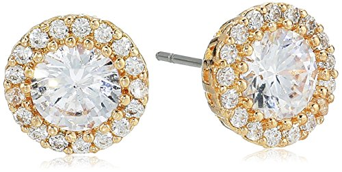 (Cz By Kenneth Jay Lane Women's Round Cubic Zirconia Stud Earrings With Halo, Clgo, One Size)