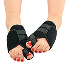 Happy Hours - 1 Pair Night Use Unisex Hallux Valgu Bunion Braces / Toe Protection Splint Corrector / Two Toes Adjuster Straightener Shoe-pad for Sports Foot Pain(Size S)