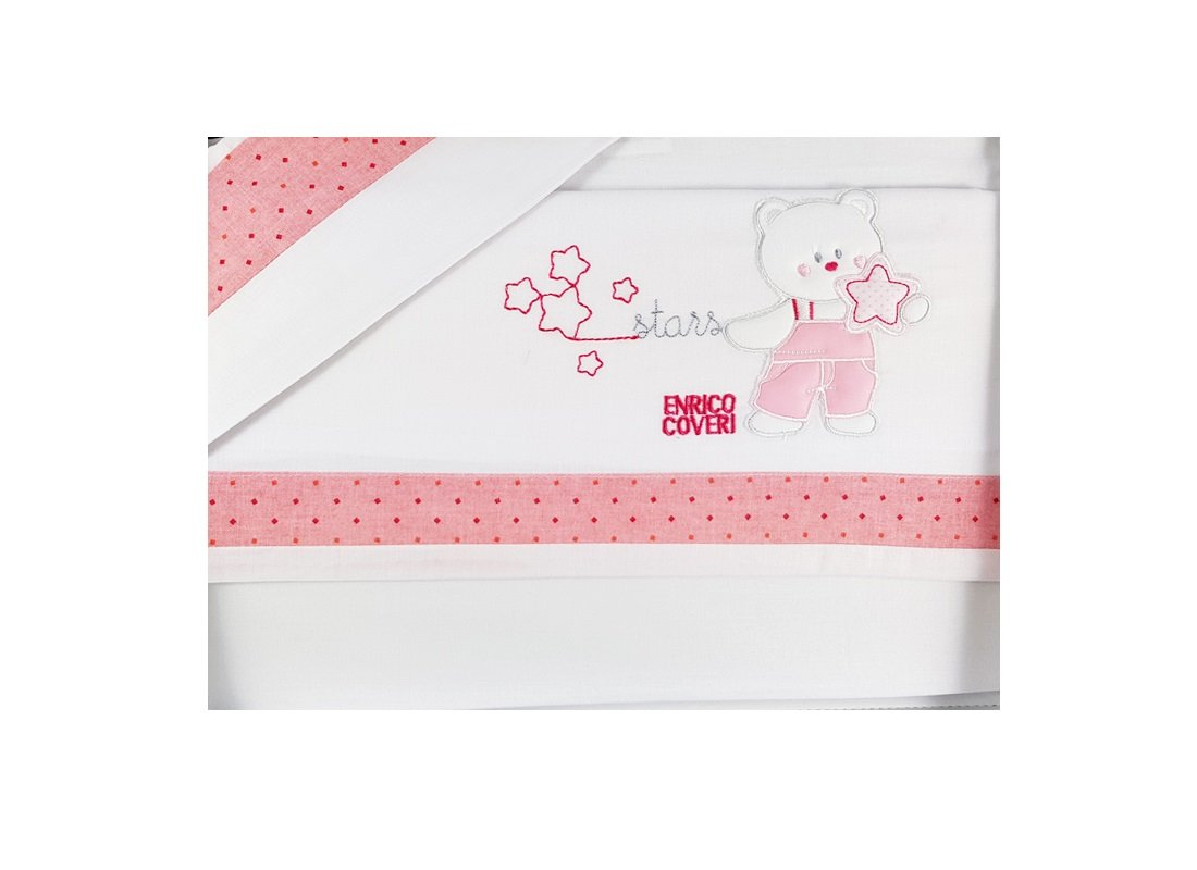 EC5801CV Set completo lenzuola carrozzina orsetto stars (rosa) Enrico coveri