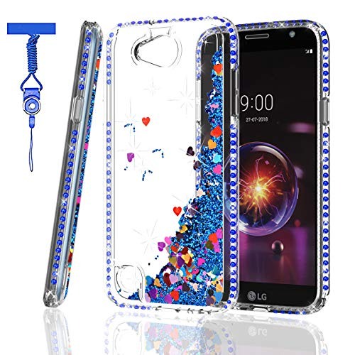 Blue Rhinestone Cover - ZingCon LG Q7 Phone Case, Q7 Case, Q7 Plus Case, Q7+ Case, Q7 Alpha/Q7α Glitter Case Bling Quicksand Sparkle Rhinestone/Crystal Diamond, Shockproof Hybrid Hard PC Soft TPU Protective Cover-Blue