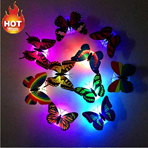 - Tuscom Creative Colorful Butterfly LED Night Light |Home Room Party Desk Wall Decor (A)