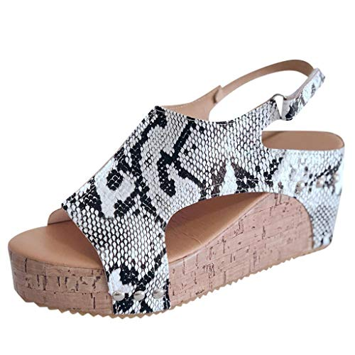 - GDJGTA Wedges Sandals Women's Open Toe Breathable Beach Sandals Snake Skin Leopard Band Casual Wedges Shoes Grey