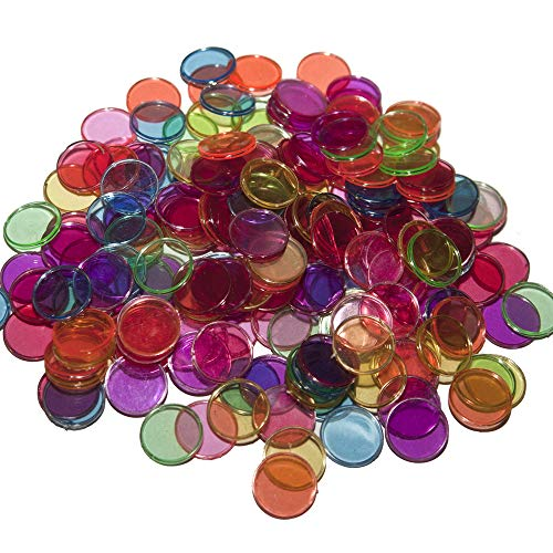 Bingo Magnet - Plastic Magnetic Bingo Chips - Metal Edge - Assorted - 300pcs (Blue, Green, Orange, Pink, Red, Purple) - 3/4