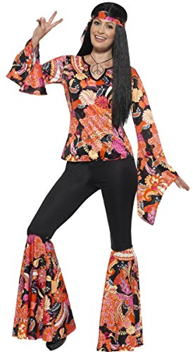 Ladies Orange Hippy Hippie 60s 70s 1960s 1970s Decades Flares Flared Trousers Fancy Dress Costume Outfit UK 4-26 Plus Size (UK 20-22) ()