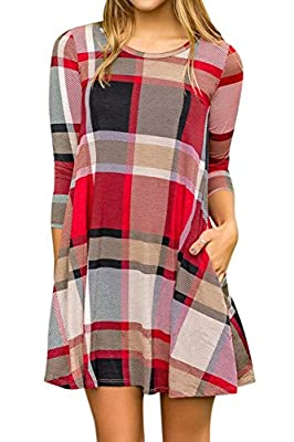 Spadehill Women's Plaid Print 3/4 Sleeves Flared Mini Dresss with Pocket