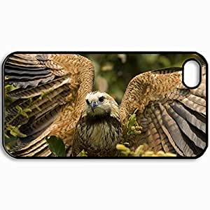 Fashion Unique Design Protective Cellphone Back Cover Case For iPhone 4 4S Case Falcon Wings Feathers Predator Bird Black by icecream design