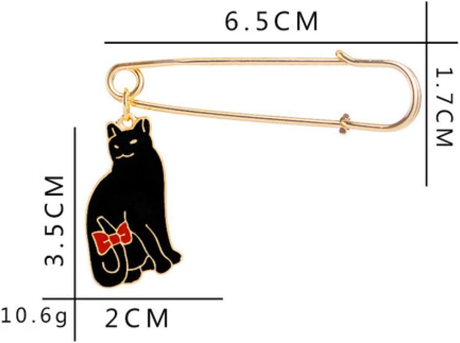 MAlex Brooch 2 Pieces Creative Personality Black cat White cat Bow Couple Brooch Shirt Backpack hat Accessories