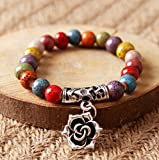 Winter's Secret Handmade Colorful Ceramic Beaded Hollow Carve Flower Rose Pendant Bracelet
