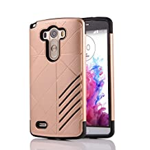MOONCASE LG G3 Case Hybrid Armor Tough Rugged [Anti Scratch] Dual Layer TPU +PC Frame Protective Case Cover for LG G3 Gold