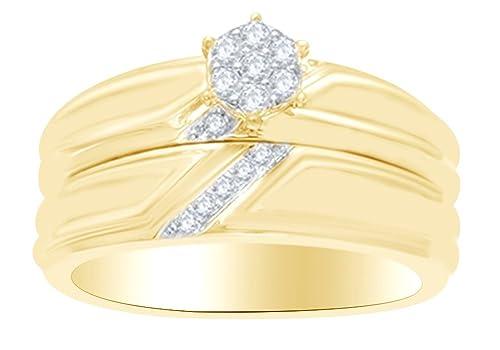 Juego de anillos de boda con forma redonda de diamante blanco natural en oro amarillo macizo de 10 quilates (0,25 quilates) - YG-Z~1/2: Amazon.es: Joyería