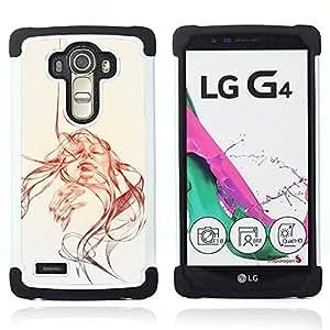 "LG G4 H815 H810 H811 LS991 LS986 US991 H815 U812 - 3 en 1 impreso colorido de Altas Prestaciones PC Funda chaqueta Negro cubierta gel silicona suave (Sun acuarela sepia Bosquejo"")"