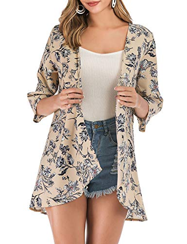 PopStore Women's Floral Print Sheer Kimono Cardigan Capes Chiffon 3/4 Sleeve Patchwork Casual Cover up Blouse Tops Beige