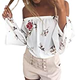 Hunzed Women Shirt, Fashion { Off Shoulder T-Shirt Crop Tops } Casual { Pattern Shirt } Lady { Boat Neck Tank Tops Blouse } Pullover Tops (White, L)