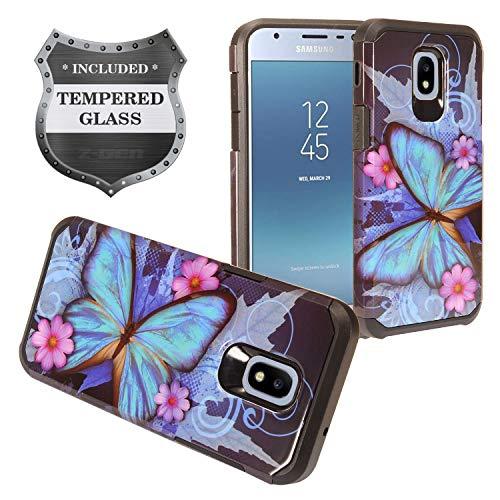 - Z-GEN - Galaxy J3 2018 J3 Star/Achieve/Aura/Orbit, Sol3, Express Prime 3, Amp Prime 3, J3 V J3V 3rd Gen J337 - Hybrid Image Case for Samsung + Tempered Glass Screen Protector - AD1 Butterfly