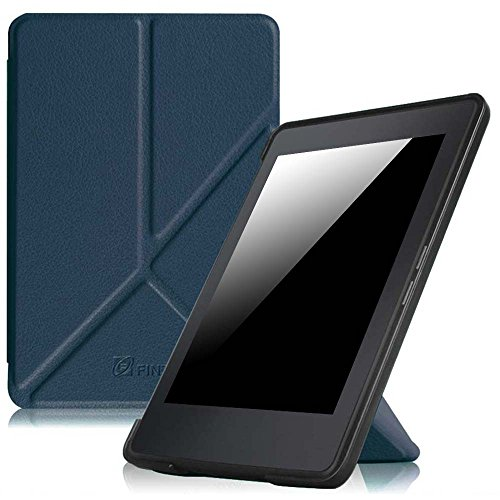 Fintie Origami Case for Kindle Paperwhite - The Thinnest and Lightest PU Leather Cover for All-New Amazon Kindle Paperwhite (Fits All versions: 2012, 2013, 2015 and 2016 New 300 PPI), Navy