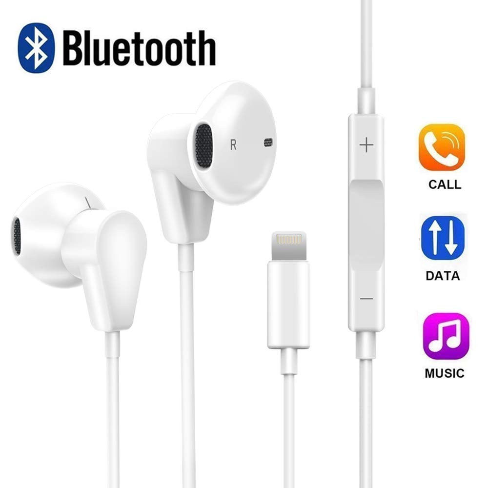 83397a05bd1 XS Earbuds with Microphone and Volume Control, Bluetooth Headphones Noise  Canceling, XS Max Earphones with Mic Compatible with iPhone 7/7 Plus/iPhone  8/8 ...