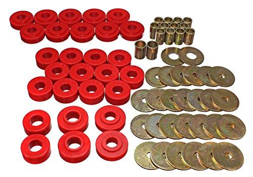 Energy Suspension 34111R Body Bushings - Energy Suspension Body Mount Bushings Body Mount Bushings - Polyurethane - Red - Chevy - Chevelle - El Camino - Malibu - Set of 24