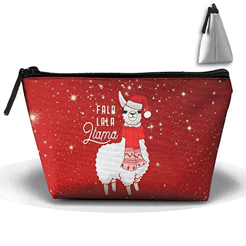 Hat Stationery (Merry Christmas Llama with Santa Hat Pen Stationery Pencil Case Cosmetic Makeup Bag Pouch)