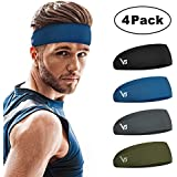 Vinsguir Sports Headbands for Men and Women (4 Pack) - Non Slip Lightweight Sweat Band Moisture Wicking Workout Sweatbands for Running, Cross Training, Yoga and Bike - Unisex Hairband