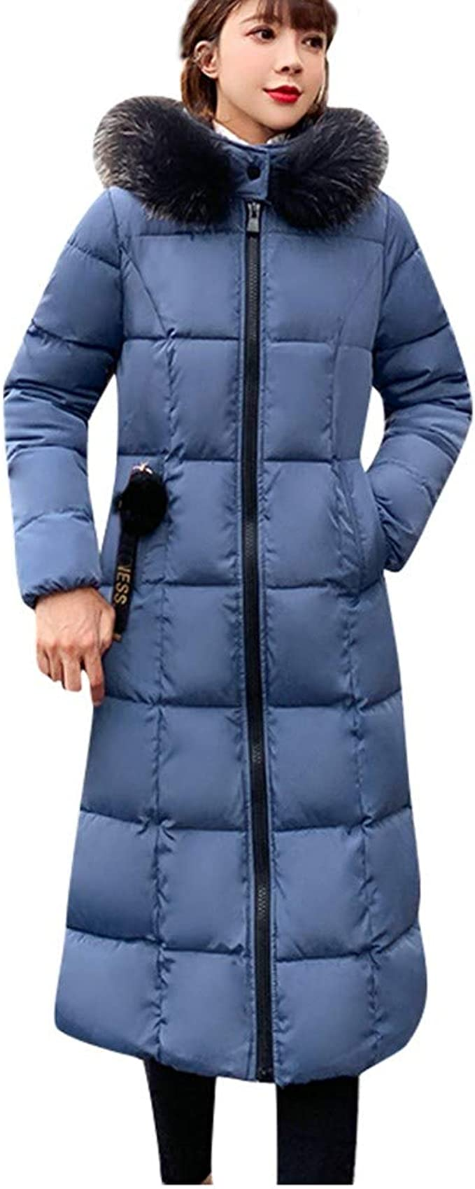 Obosoyo Womens Hooded Thickened Long Down Jacket Winter Down Parka Puffer Jacket