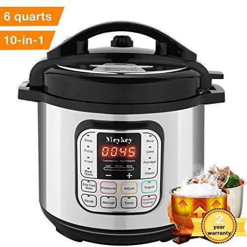 10-in-1 Intelligent Pressure Cooker, Slow Cooker, Rice Cooker, Steamer, Fryer, Yogurt Maker and Warmer; 6 Qt, 1000W