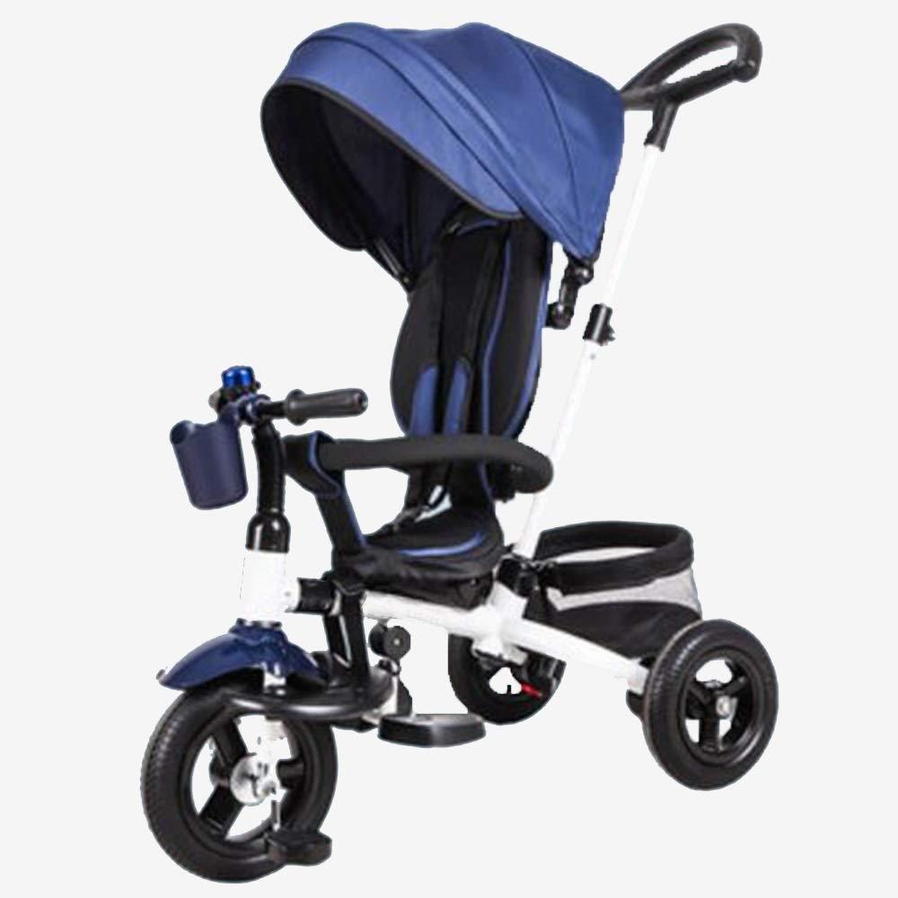 YUMEIGE 子ども用自転車 子供用三輪車積載量25kg 16歳の誕生日プレゼント子供用ベビーカー幼児トライクオーニング付き(男の子/女の子) 利用できるサイズ (色 : 青)  青 B07QH1L1GM