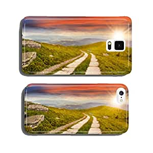 road on a hillside near mountain peak at sunset cell phone cover case iPhone6 Plus