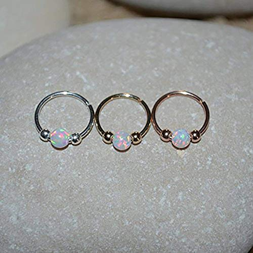 White Opal NOSE RING//Gold Nose Piercing - Tragus Hoop - Forward Helix Earring - Daith Earring - Septum 20g