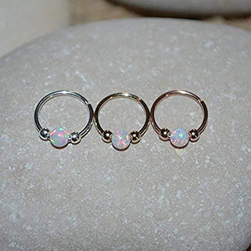 (White Opal NOSE RING//Gold Nose Piercing - Tragus Hoop - Forward Helix Earring - Daith Earring - Septum 20g)