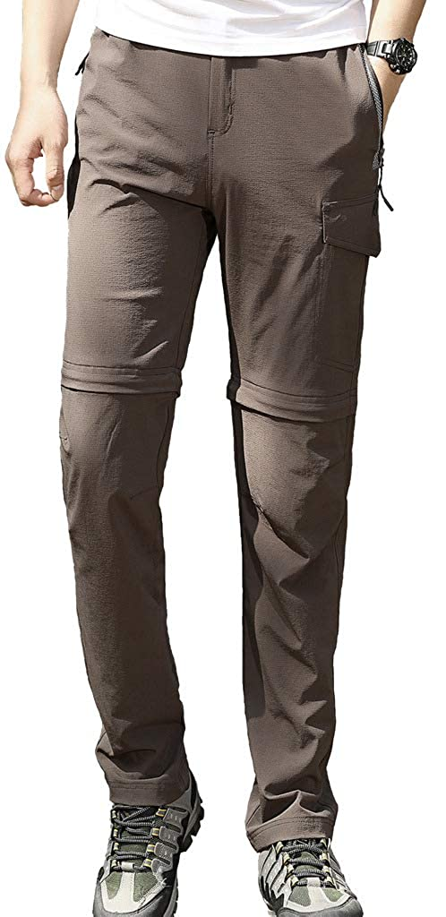 Aufgevals Mens Outdoor Stretch Convertible Hiking Pants UPF 50 Quick Dry Cargo Pants