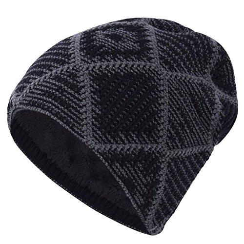 Beaii- Gorro de punto grueso para Deportes de Invierno Unisex Negro
