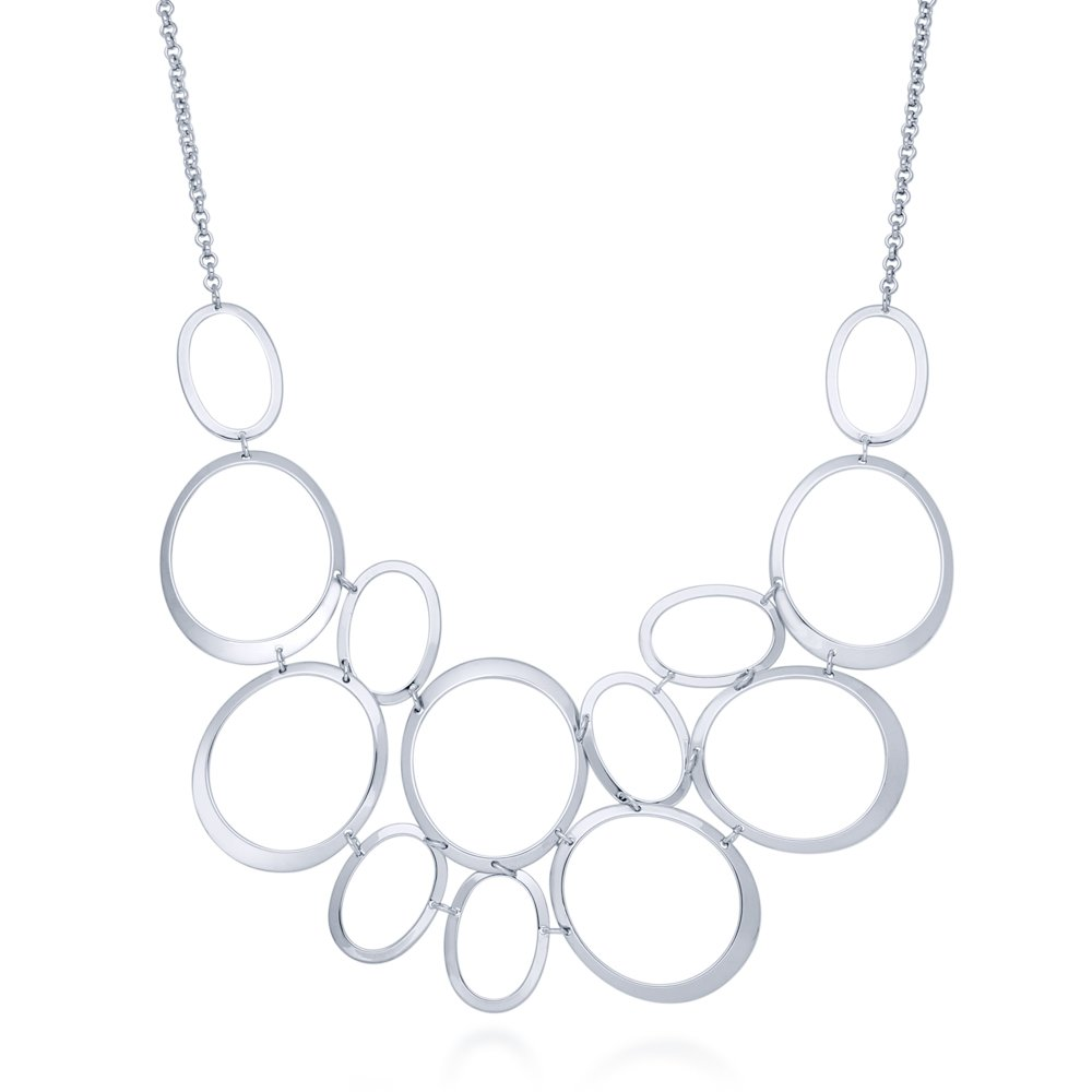 BERRICLE Rhodium Plated Base Metal Open Oval Fashion Bib Statement Necklace 17''+2'' Extender