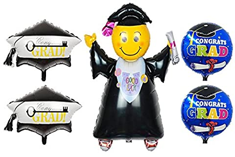 5 Graduation Balloons, 1 X-Large Jumping Grad, 1 Large Congrats Grad & 1 Large Key to Sucess Grad Mylar Inflatable - Smiley Black Cap