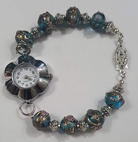 Blue Imported from India Cloisonne Beads Silver Bracelet Watch with Flower Watch Face- 7.5