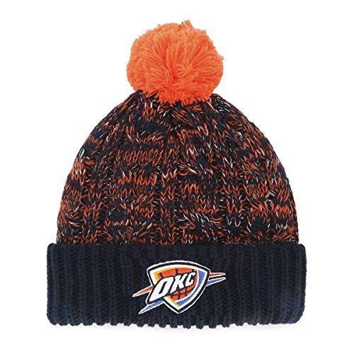 NBA Oklahoma City Thunder Women's Brilyn OTS Cuff Knit Cap with Pom, Navy, Women's (Oklahoma City Thunder Knit Hat)