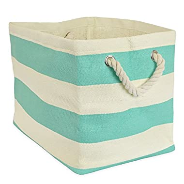 DII Woven Paper Textured Storage Basket, Collapsible & Convenient For Office, Bedroom, Closet, Toys, Laundry - Medium, Aqua Stripe