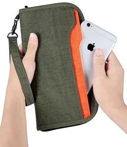 Travelambo Travel Wallet Passport Holder Wallet RFID Blocking Credit Card Holders for Men & Women (army green/orange)