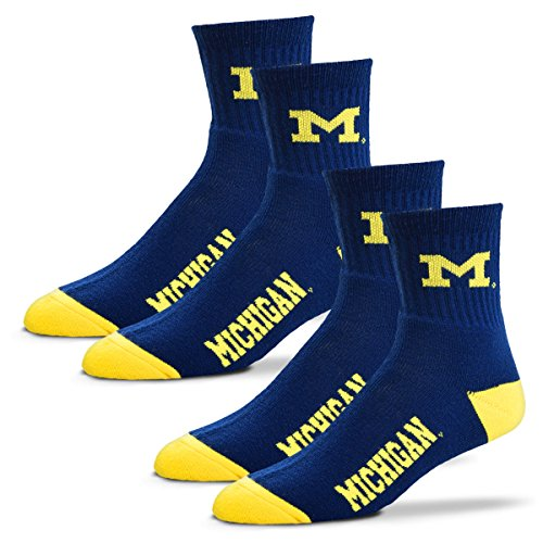 For Bare Feet Men's Quarter Socks-Michigan Wolverines-Large-Blue-2 Pack (Michigan Wolverines Day Watch Game)