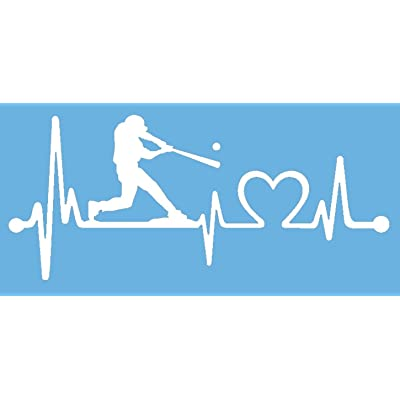 Bluegrass Decals K1075 Baseball Guy Batter Batting Heartbeat Lifeline Decal Sticker (White): Automotive