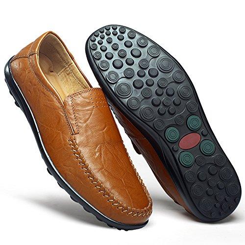 Jions Heren Dress Schoenen Rijden Mocassins Leren Instappers Instappers Casual Bootschoenen A - Bruin