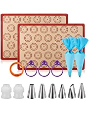 "Silicone Baking Mat Macaron Mat Kit(16pcs Set) Macaroon Baking Mat Set of 2 Half Sheet Macaron Silicone Mat Nonstick Macaron Mat Sheet,6 Piping Tip,2 Piping Bag with 2 Bag Tie,1 Coupler (11.6""x16.5"")"